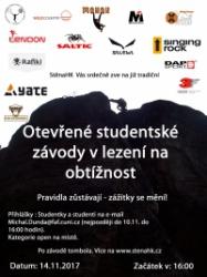 Otevřené studentské závody v lezení na obtížnost 2017