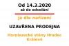 UZAVŘENÍ PRODEJNY OD 14.3. 2020