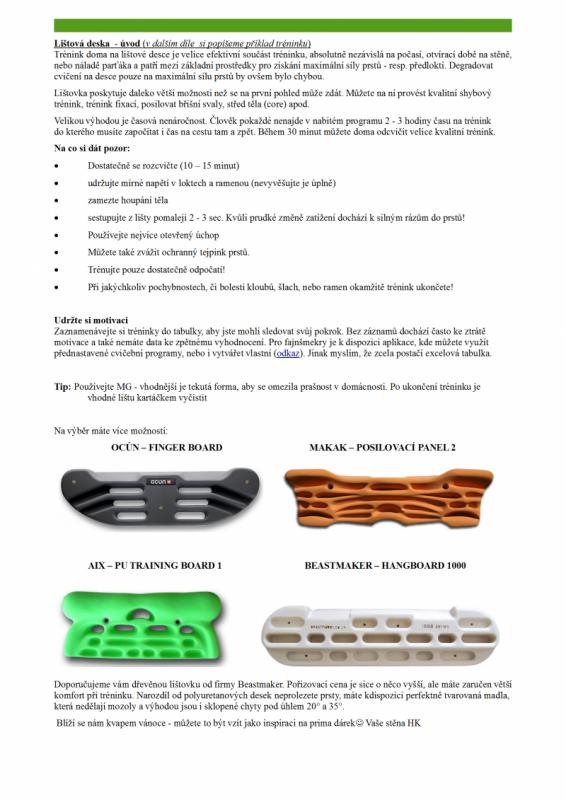 Lištová deska - úvod