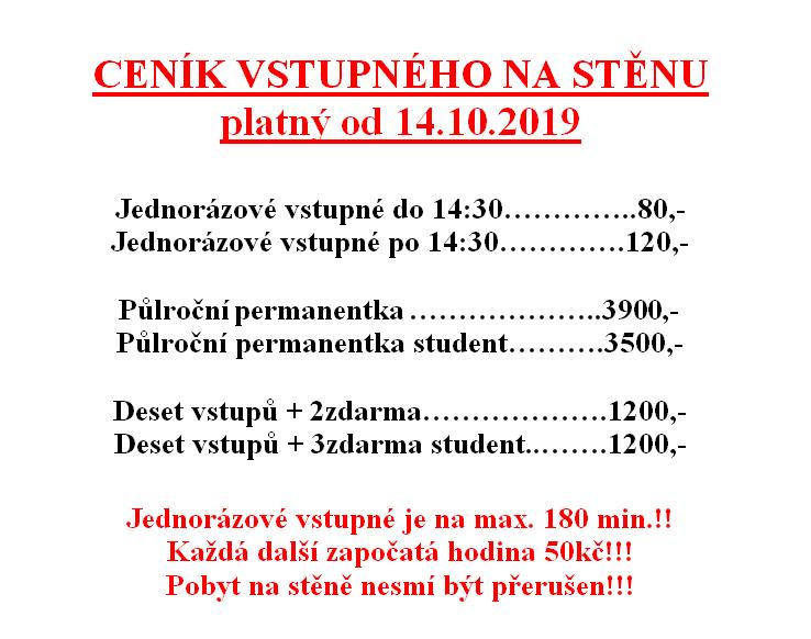 Od 14.10.2019 nový ceník